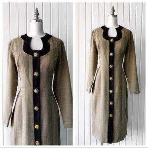 Vintage 90s Tan Checkered Sheath Button Dress